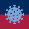 Stylized light blue COVID-19 virus against blue and red background